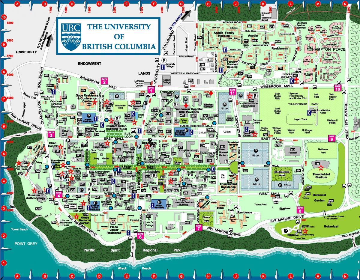كولومبيا البريطانية جامعة خريطة - خريطة من جامعة كولومبيا ...